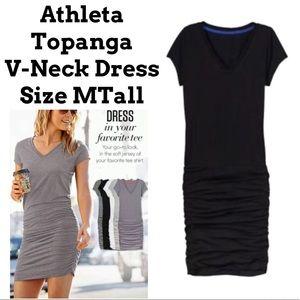 Athleta Black V-Neck Topanga Dress